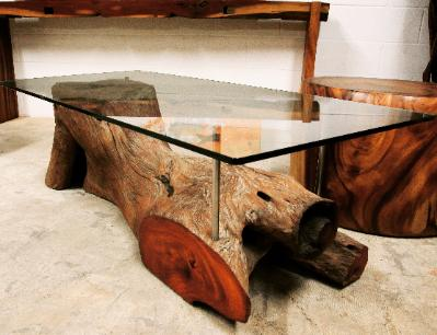 natural wood organic coffee table