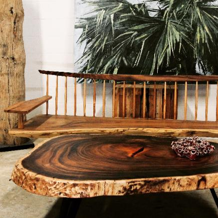 natural wood coffee table and masao bench