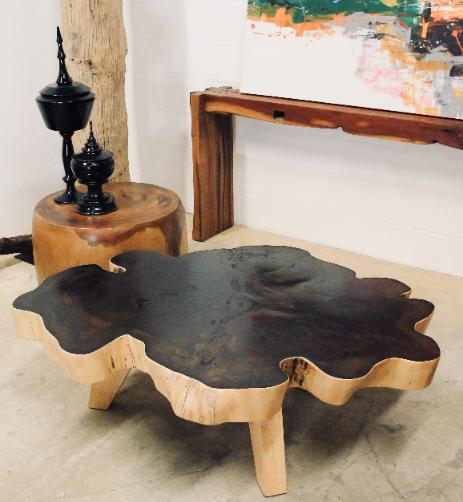 natural wood freeform  jig saw coffee table