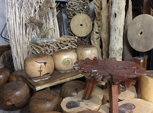 natural wood stools and rice cart wheels
