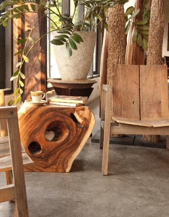 munchkin side table and teak teak chair