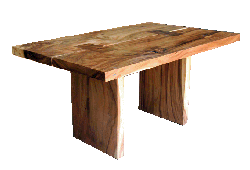 straight edge acacia dining table
