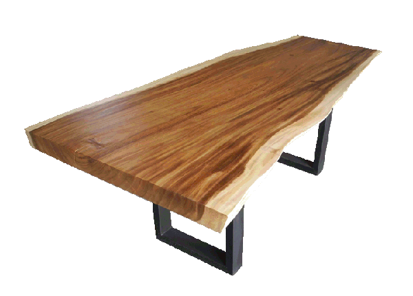 free edge or live edge acacia dining table with metal legs