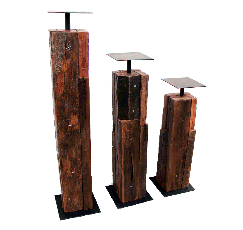 candle holders made with reclaimed wood