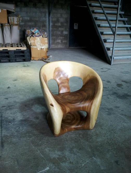 carved acacia chair