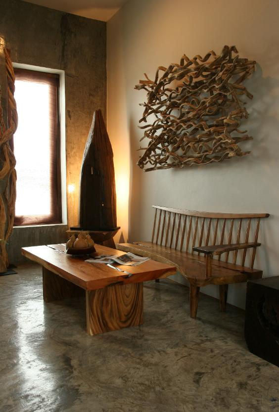 natural wood furniture with twist vine wall art