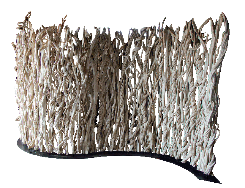 room divider made with tropical liana vines pictured in a wave format